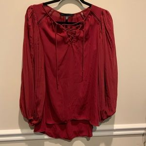 White House Black Market Red Lacy-up Blouse size 2